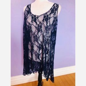 Marigold sheer blue floral lace tunic dress